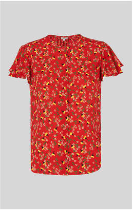 Whistles Peony Print Frill Top