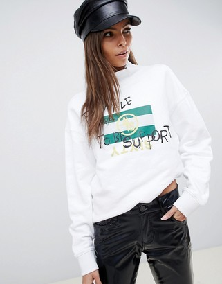 Miss Sixty slogan high neck sweatshirt-White