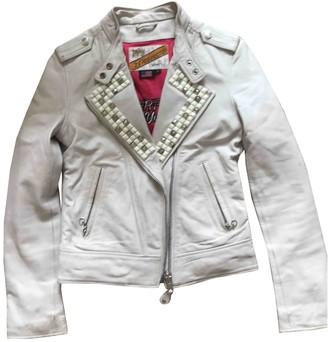 Schott White Leather Jacket for Women Vintage