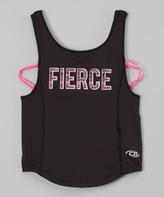 CB Sports Black & Pink 'Fierce ' Strappy-Back Tank - Girls