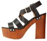 Charlotte Russe Qupid Strappy Wooden Platform Heels