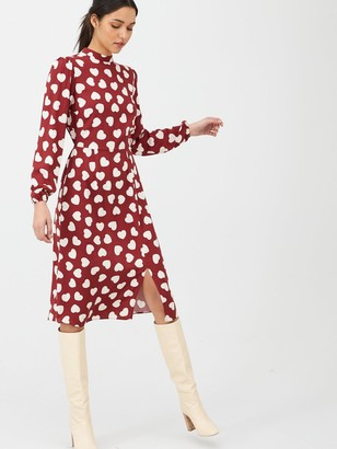 Very High Neck Midi Dress - Heart Print