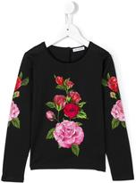 Dolce & Gabbana rose print sweatshirt - kids - Cotton/Polyamide - 6 yrs