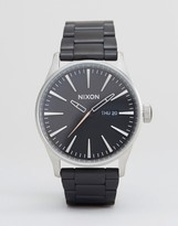 Nixon Brush Steel Sentry SS Bracelet Watch In Black