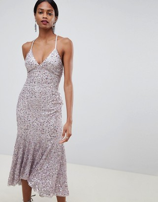 Asos Design DESIGN cami midaxi dress in all over sequin with fluted hem