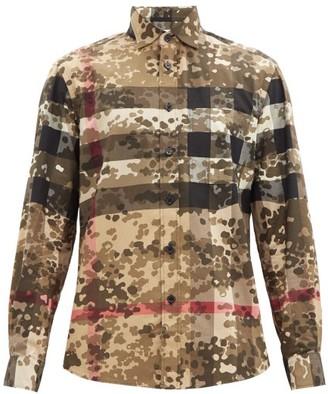 Burberry Criston Checked Camo-print Cotton-blend Shirt - Beige Multi