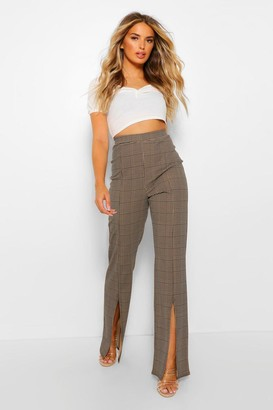 boohoo Dogtooth Check Split Hem Fit And Flare Trousers
