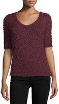 BCBGMAXAZRIA Half-Sleeve Fuzzy Knit Sweater, Deep Maroon
