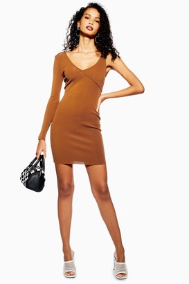 Topshop Womens Ribbed Bodycon Dress - Rust