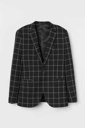 H&M Skinny Fit Checked Blazer - Black