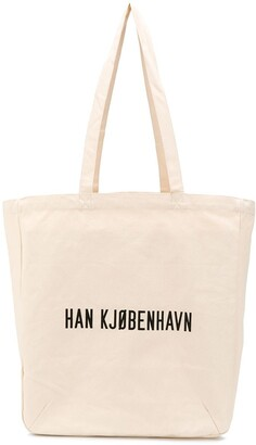 Han Kjobenhavn printed URL tote bag