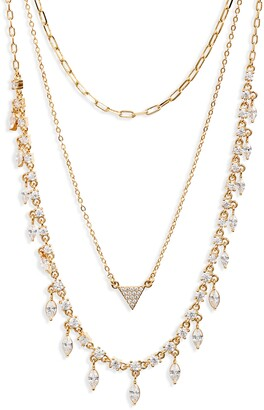 Nordstrom Layered Cubic Zirconia & Chain Collar Necklace