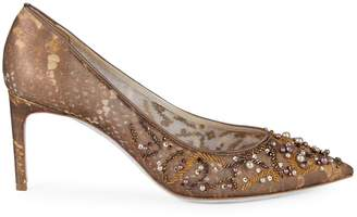 Rene Caovilla Embellished Textured Pumps