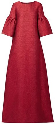 Reem Acra Fluted Jacquard Gown