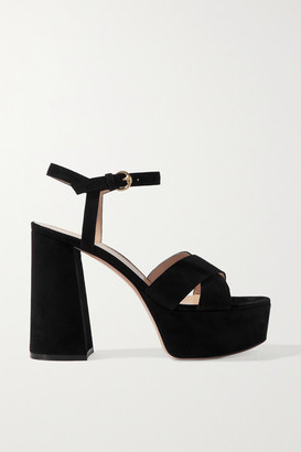 Gianvito Rossi 110 Suede Platform Sandals - Black