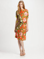 Josie Natori Printed Silk Dress