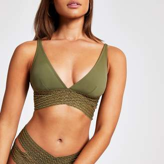River Island Womens Khaki elastic wrap high apex bikini top