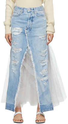 Unravel Blue Denim Tulle Distressed Skirt