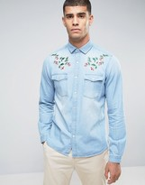 Asos Regular Fit Western Shirt With Floral Embroidered Collar In Bleach