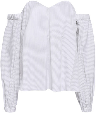 Milly Janey Off-the-shoulder Striped Cotton-poplin Top