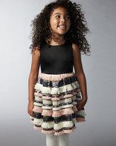Milly Minis Sleeveless Sequin &amp- Fringe Pleated Dress- Blush- Size ...