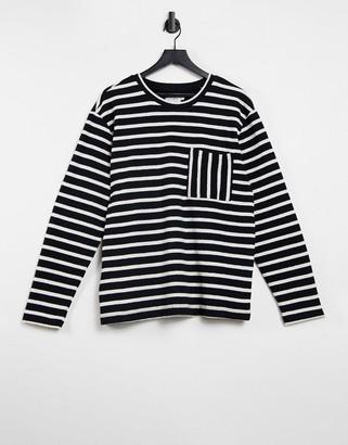Topman stripe boxy pocket sweat in black