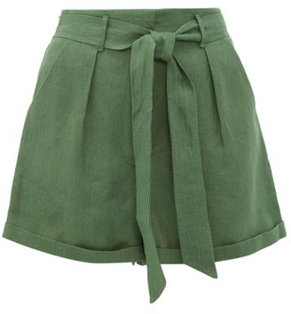 Loup Charmant Tellin High-rise Linen Shorts - Green