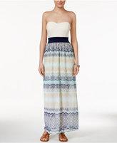 Trixxi Juniors' Lace Printed Bow-Back Maxi Dress