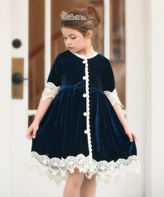 Scully Trish Child Girls' Special Occasion Dresses NAVY - Navy Lace-Trim Rosalina A-Line Dress - Infant & Toddler