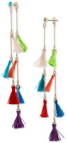 Rachel Roy Gold-Tone Multi-Tassel Ear Jacket Linear Drop Earrings
