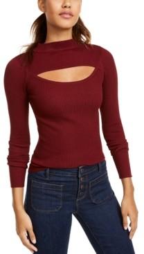 Planet Gold Juniors' Cutout Mock-Neck Sweater