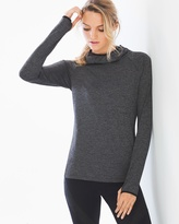 Soma Intimates Long Sleeve Hooded Mesh Top Charcoal Heather
