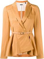 Jil Sander Navy belted peplum blazer - women - Cotton/Linen/Flax/Acetate/Cupro - 38