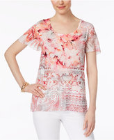 JM Collection Petite Embellished Printed Top, Only at Macy's