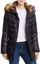 Aqua Faux Fur Trimmed Quilted Coat - 100% Exclusive