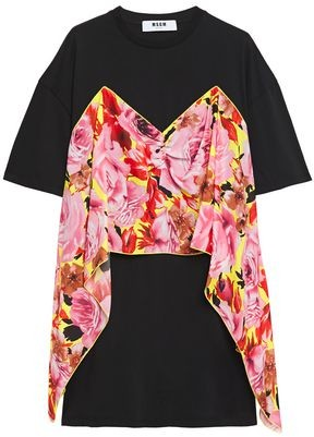 MSGM Draped Floral-print Crepe De Chine And Cotton-jersey T-shirt