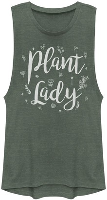 Juniors' Plant Lady Text Muscle Tank