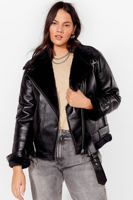 Nasty Gal Womens See You Aviator Plus Faux Leather Jacket - Black - 22