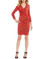 Anne Klein Printed 3/4 Sleeve Faux Wrap Dress