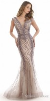 Morrell Maxie Plunging Embellished Cap Sleeve Fitted Evening Dress