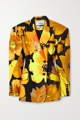 Christopher John Rogers Oversized Double-breasted Floral-print Cotton-twill Blazer - Orange