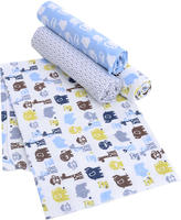 Triboro Quilt Mfg Co Just Born Zoo Crew 4 Pack Flannel Receiving Blankets