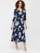 Very Tiered Midi Dress - Blue Floral