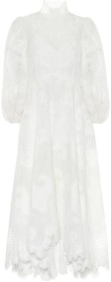 Zimmermann Brightside embroidered linen and silk dress