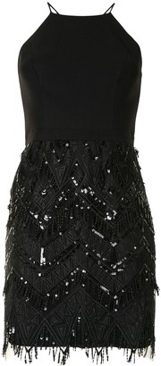 Aidan Mattox Geometric Embroidery Mini Dress