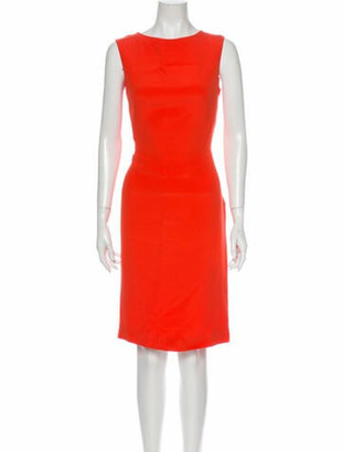 Valentino Crew Neck Knee-Length Dress Orange