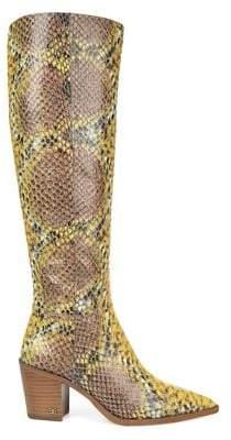 Sam Edelman Lindsey Knee-High Snakeskin-Embossed Leather Boots