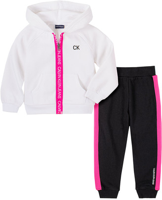 Calvin Klein Jeans Girls' Casual Pants 2003 - White 'Calvin Klein Jeans' Zip-Front Hoodie & Black Joggers - Toddler