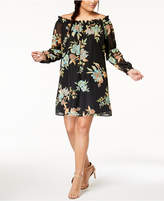 Eyeshadow Trendy Plus Size Printed Off-The-Shoulder Dress