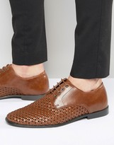 Red Tape Derby Shoes in Woven Brown Leather